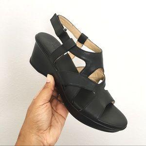 Naturalizer Black Vina Wedge Sandals Size 8